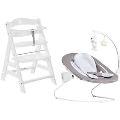 Hochstuhl Alpha+B, white inkl. Bouncer Deluxe 2in1, sand (Select)