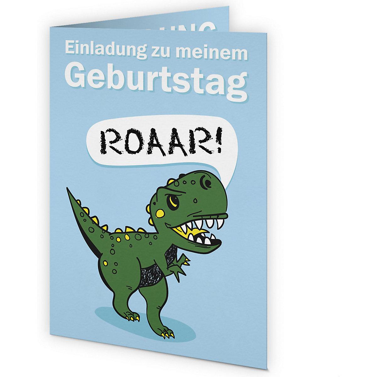einladungskarten dinosaurier, 6 stück inkl. umschläge
