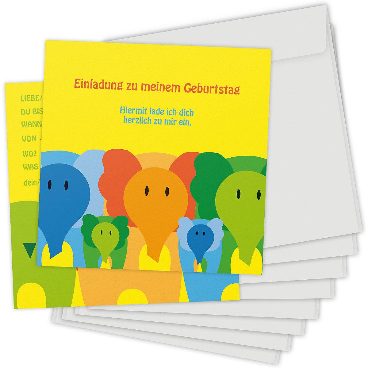 Einladungskarten Elefanten 8 Stück inkl. Umschläge Kartenkuss z70im
