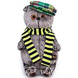Мягкая игрушка Budi Basa Кот Басик в разноцветной кепке, 25 см
