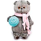 Мягкая игрушка Budi Basa Кот Басик в шарфике и с клубком, 19 см