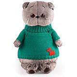 Мягкая игрушка Budi Basa Кот Басик в зеленом свитере с собачкой, 30 см