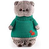 Мягкая игрушка Budi Basa Кот Басик в зеленом свитере с собачкой, 25 см