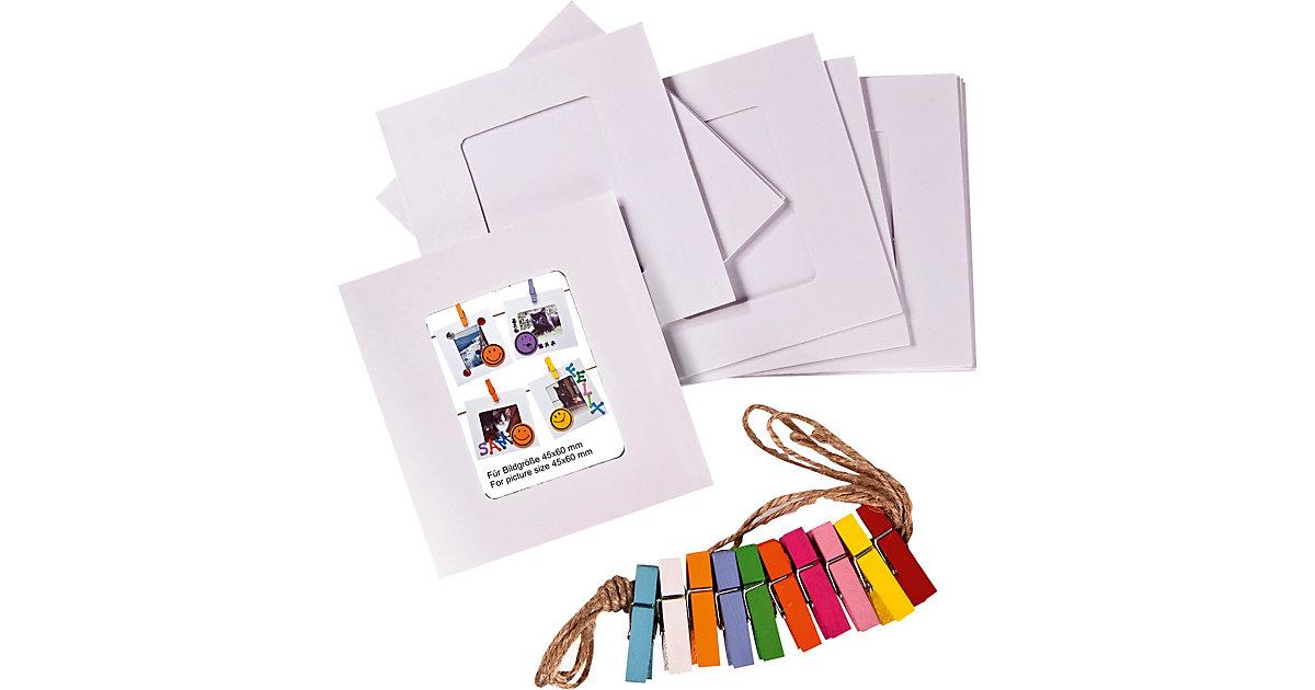 Papier-Bilderrahmen-Set mit Naturfaserkordel und 10 bunten Wäscheklammern weiß