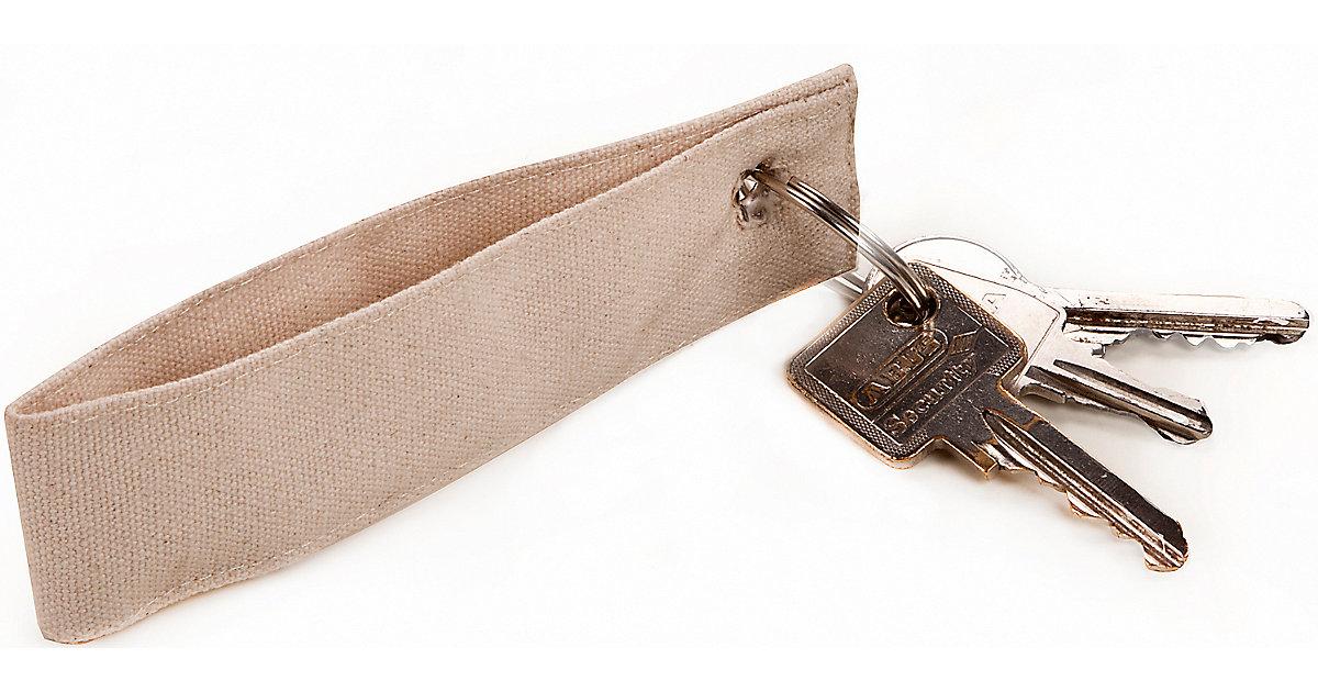 Baumwoll-Schlüsselanhänger mit Schlüsselring, 3 Stück natur