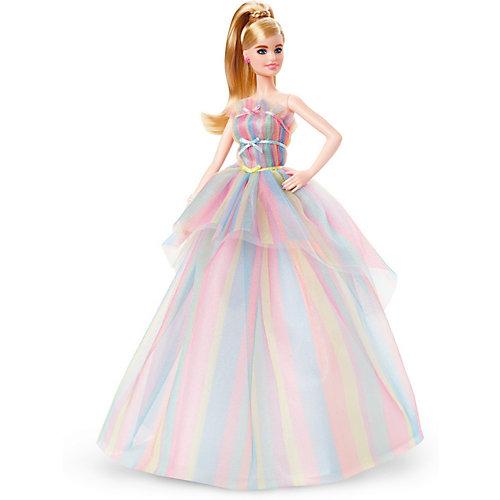 """Коллекционная кукла Barbie """"Пожелания ко дню рождения"""" в радужном платье от Mattel"""