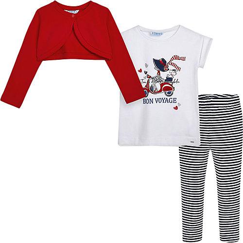Комплект Mayoral: кардиган, футболка и леггинсы - красный от Mayoral