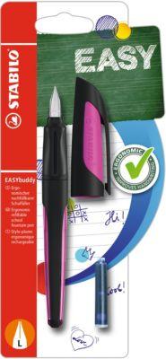 Schulfüller EASYbuddy Linkshänder schwarz/magenta, inkl. Patrone schwarz/rosa