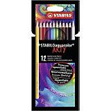 Акварельные карандаши Stabilo Aquacolor Arty, 12 цветов