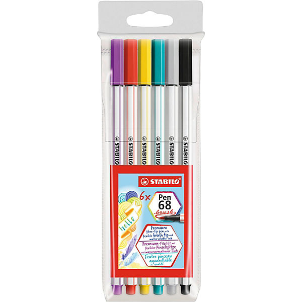 Premium-Filzstifte Pen 68 brush, 6 Farben