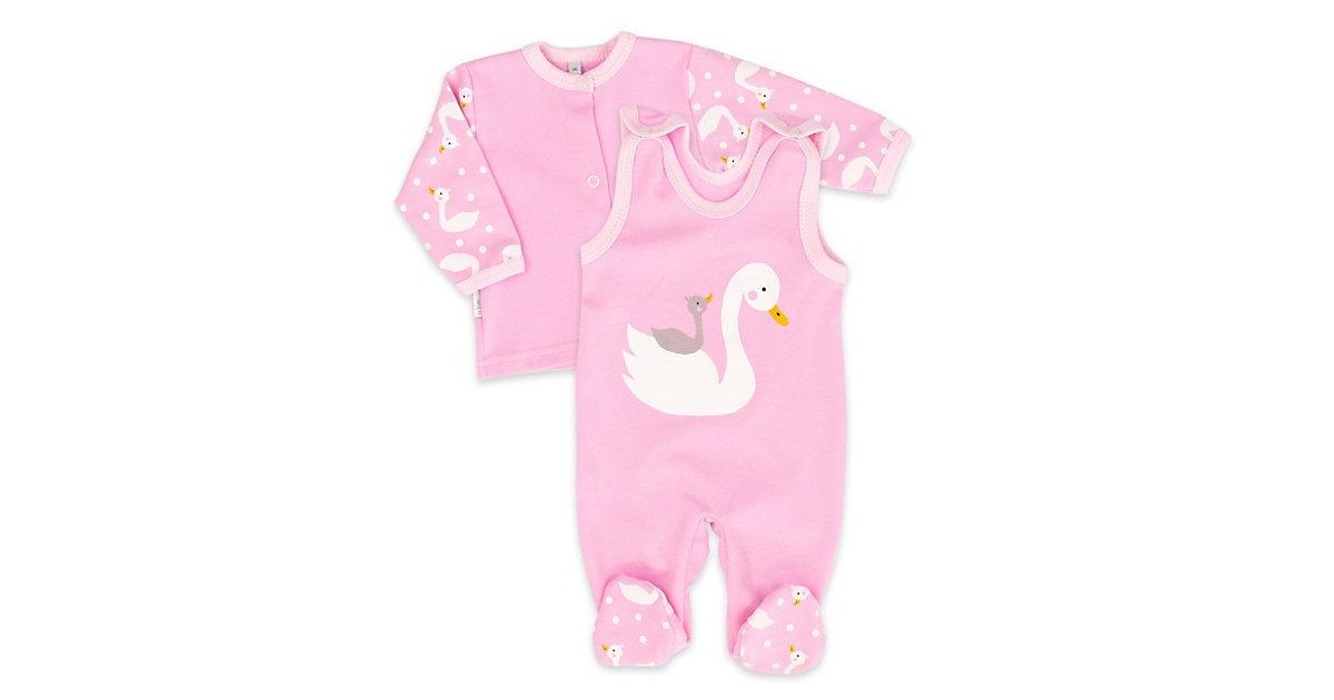 2tlg Set Strampler + Shirt Lovely Swan Strampler rosa Gr. 56 Mädchen Kinder