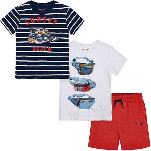 Комплект Mayoral: футболка 2 шт и шорты - красный от Mayoral