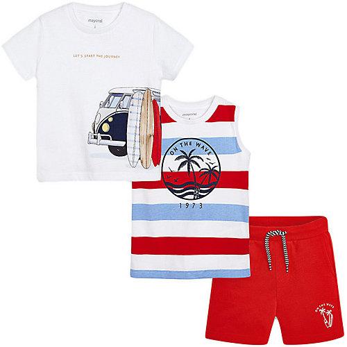 Комплект Mayoral: футболка, майка и шорты - розовый от Mayoral