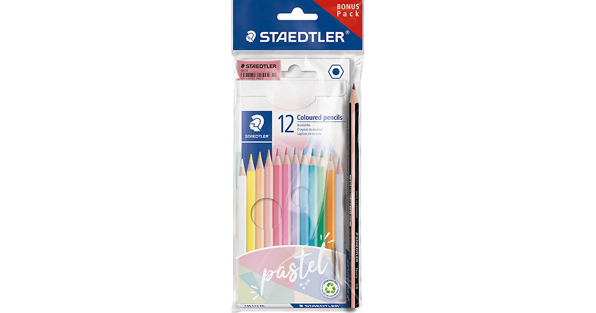 Sechskant-Buntstiftset Pastell, 12 Farben, inkl. Bleistift & Radierer