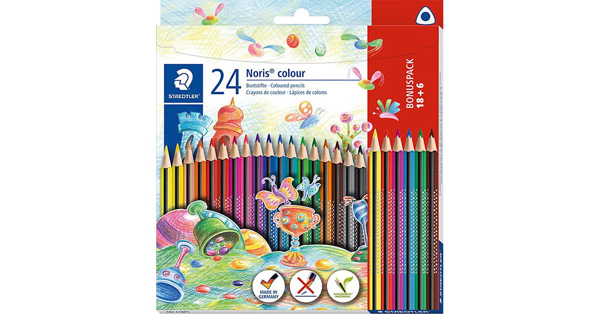 NORIS colour Dreikant-Buntstifte, 18&6 Farben