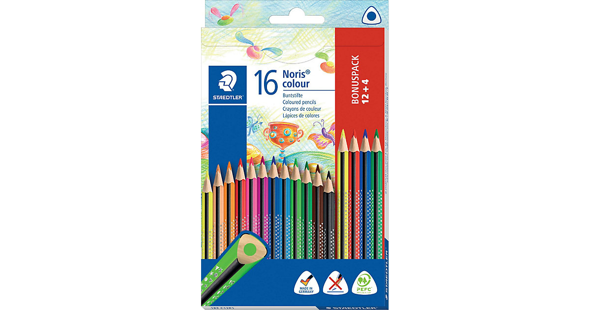 NORIS colour Dreikant-Buntstifte, 12&4 Farben