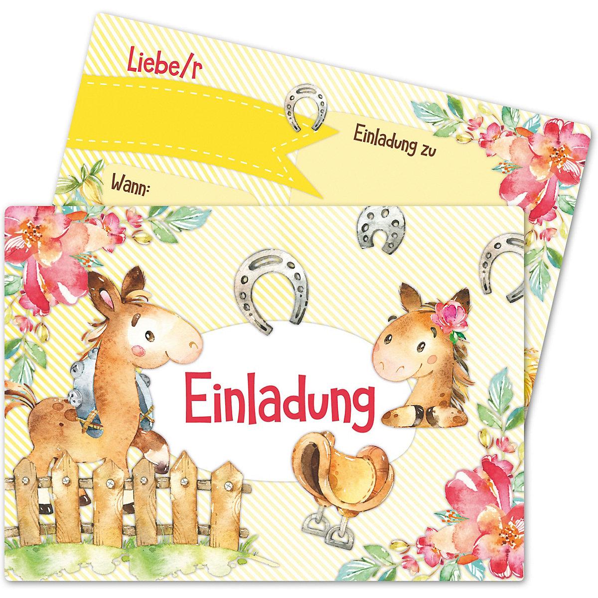 einladungskarten kindergeburtstag pferde (12 stk), | mytoys