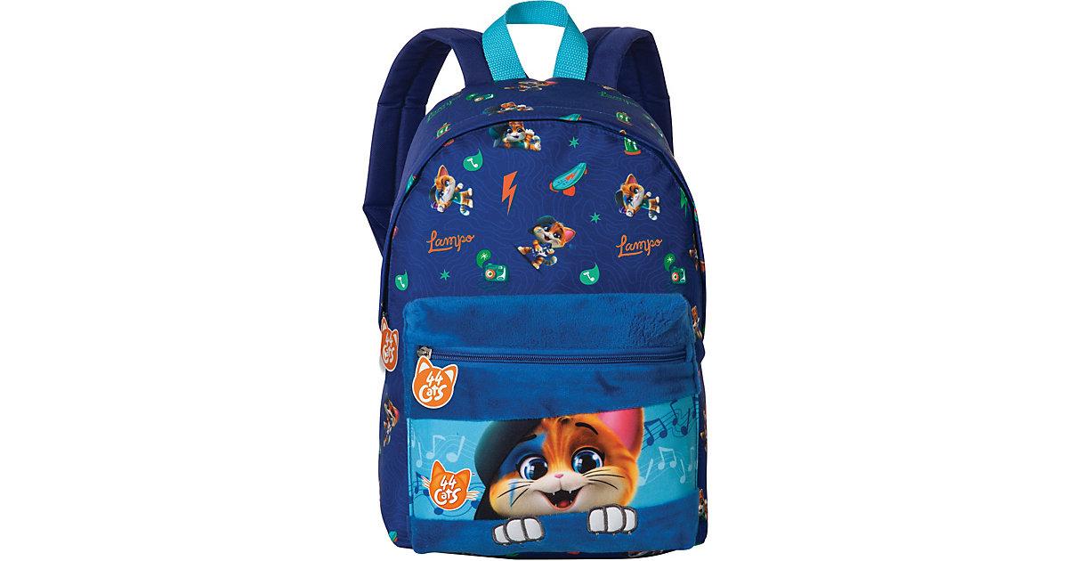 Kinderrucksack 44 Cats Lampo mit Plüschtasche blau