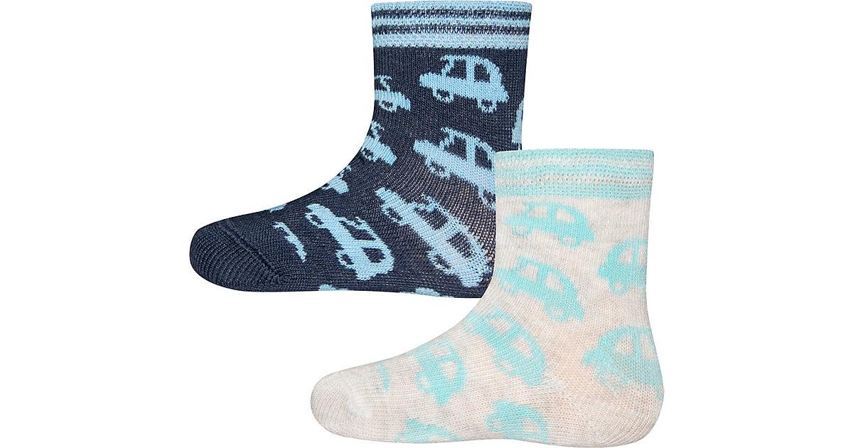 Baby Socken Doppelpack , Autos blau/grau Gr. 18/19 Jungen Baby