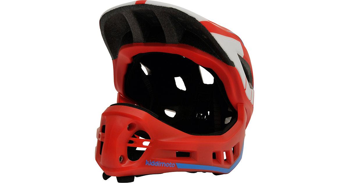 Fahrradhelm 2-in-1 mit abnehmbarem Kinnschutz, Rot/Blau (M: 53-58cm) blau/rot