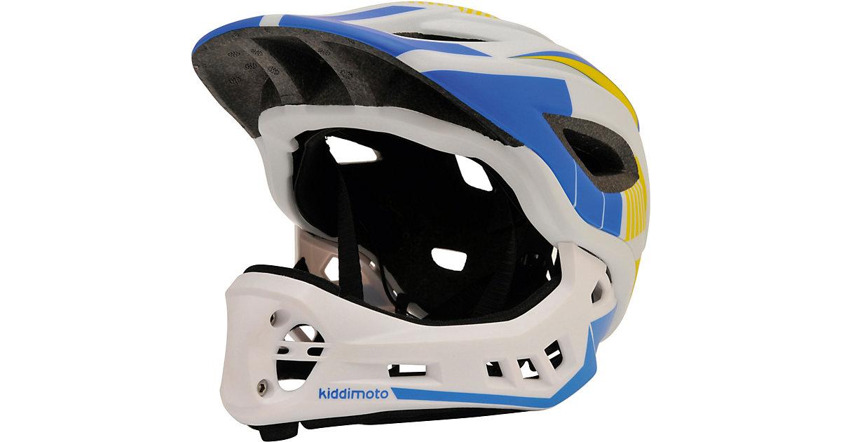 Fahrradhelm 2-in-1 mit abnehmbarem Kinnschutz, Weiss/Blau (M: 53-58cm) blau/weiß