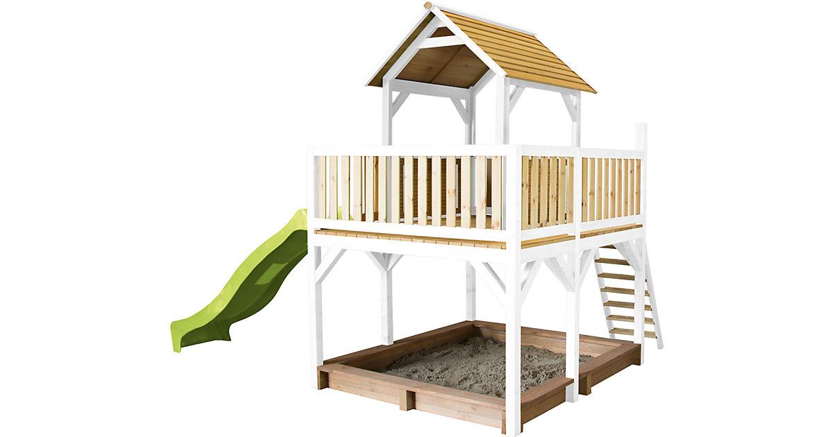 Atka Spielturm Bruin/mit - Lindgrüne Rutsche braun/grün
