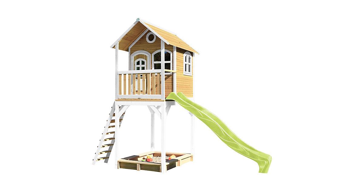 Romy Spielhaus Braun/Weiß - Lindgrüne Rutsche braun/grün