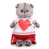 Мягкая игрушка Budi Basa Кот Басик в футболке с сердцем, 25 см