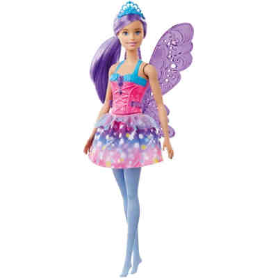 Barbie Dreamtopia Fee (lila Haare) Puppe mit Flügeln, Anziehpuppe, Modepuppe