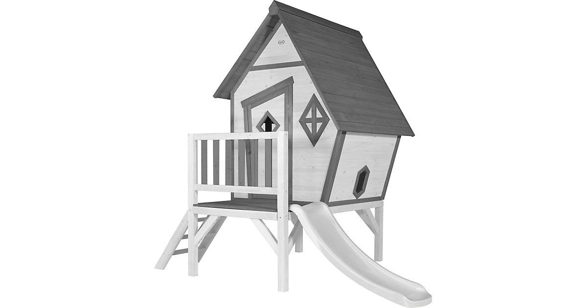 Cabin XL Spielhaus Grau/weiß - Weiße Rutsche grau/weiß