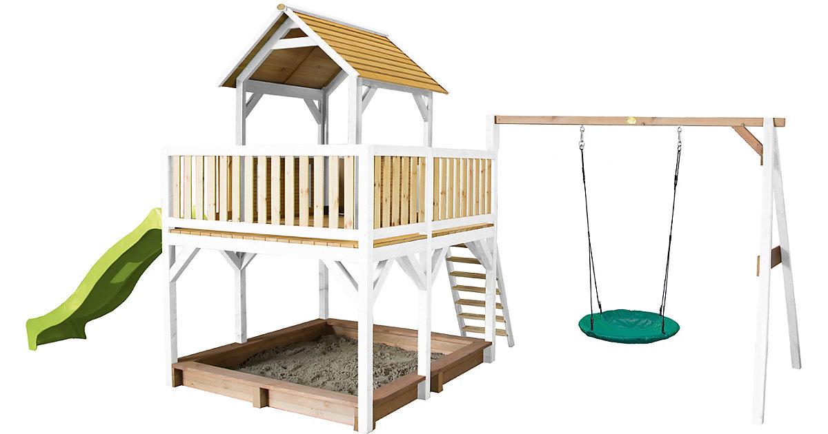 Atka Spielturm mit Summer Nestschaukel Braun/Weiß - Lindgrüne Rutsche braun/grün