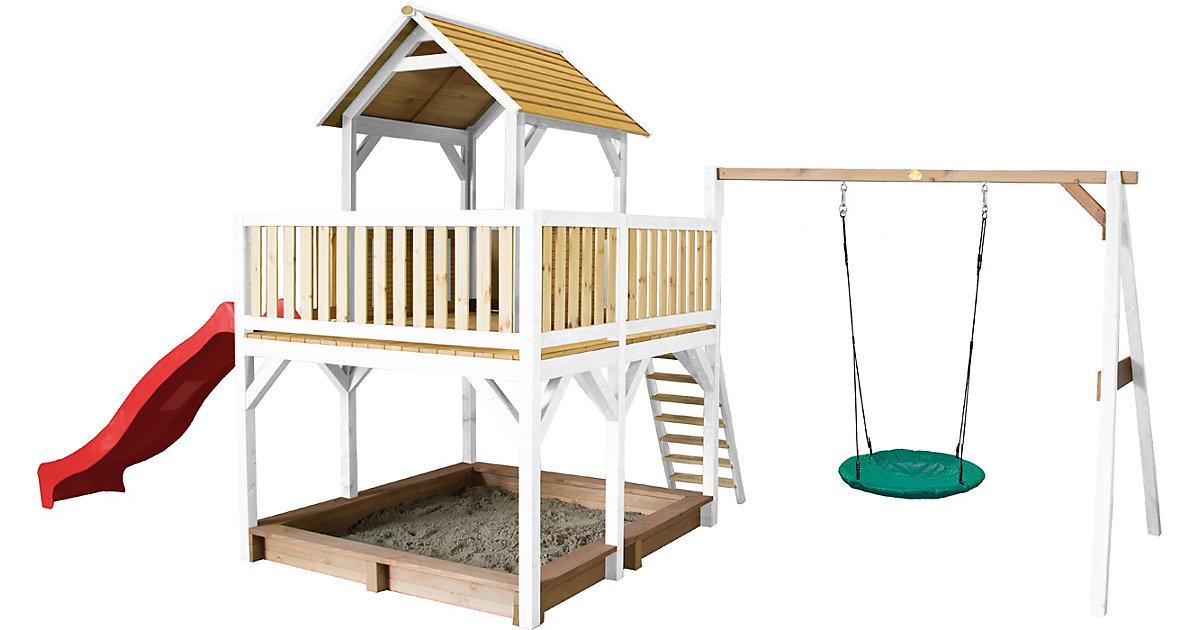 Atka Spielturm mit Summer Nestschaukel Braun/Weiß - Rote Rutsche braun/rot