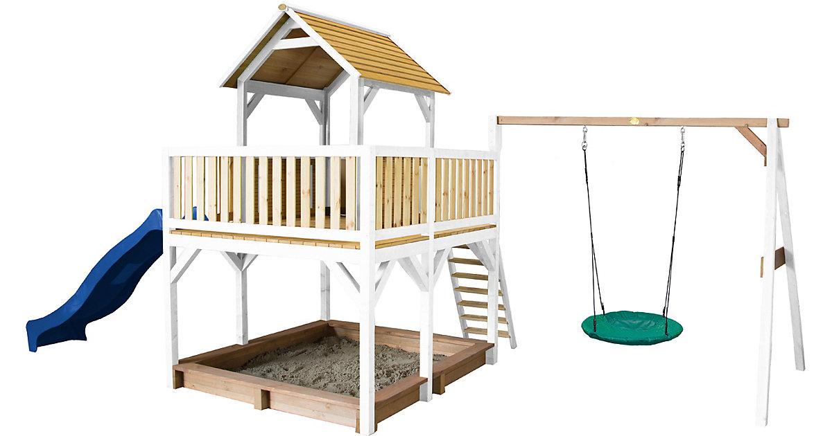 Atka Spielturm mit Summer Nestschaukel Braun/Weiß - Blaue Rutsche braun/blau