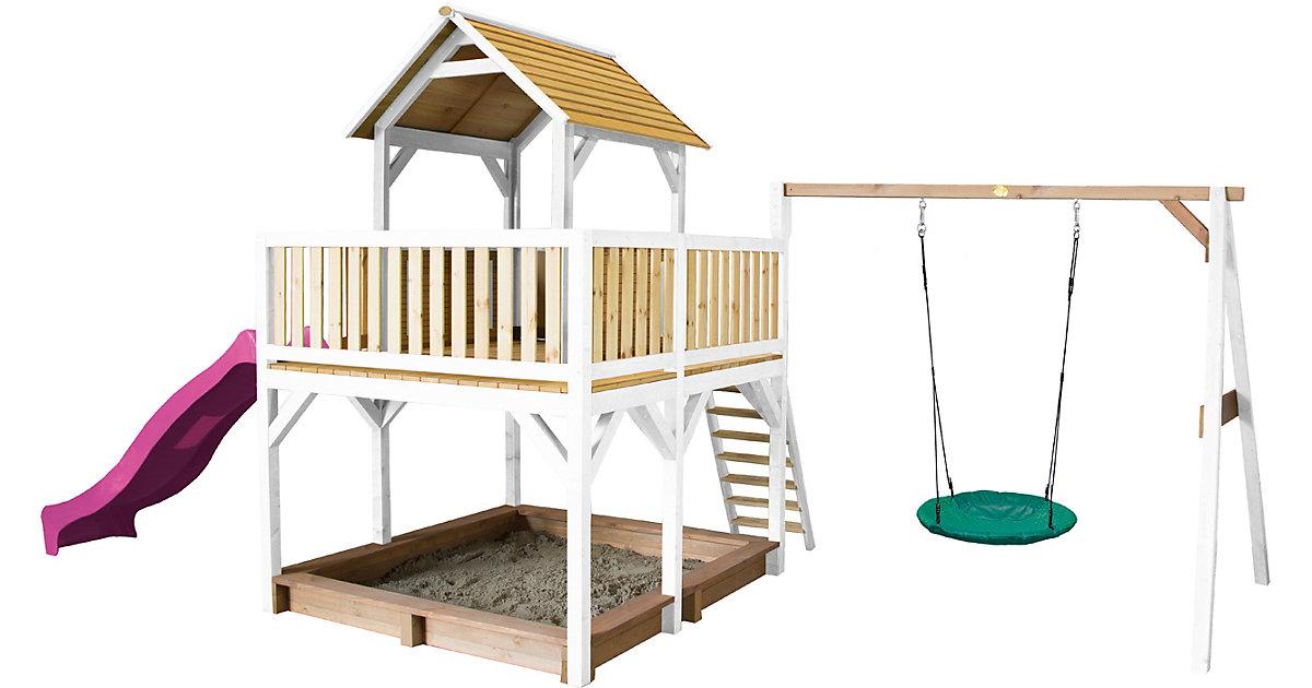 Atka Spielturm mit Summer Nestschaukel Braun/Weiß - Lila Rutsche braun/lila