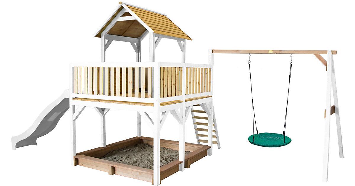 Atka Spielturm mit Summer Nestschaukel Braun/Weiß - Weiße Rutsche braun/weiß