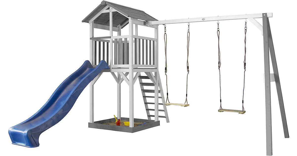 Beach Tower Spielturm mit Doppelschaukel - Blaue Rutsche grau/hellblau