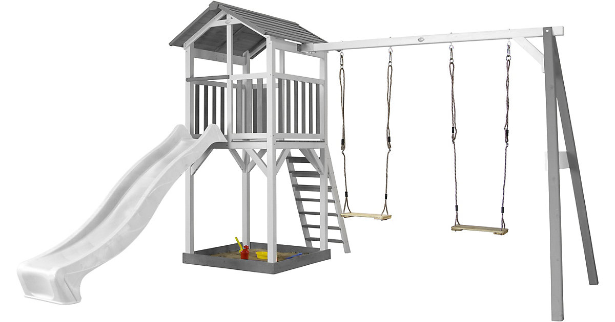 Beach Tower Spielturm mit Doppelschaukel - Weiße Rutsche grau/weiß