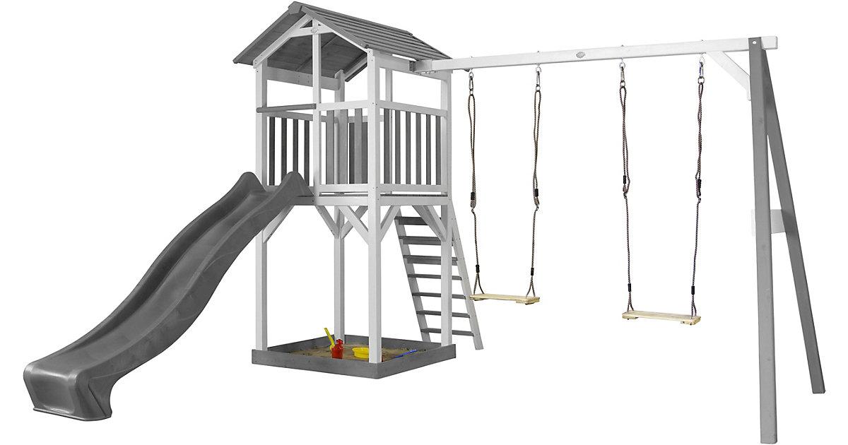 Beach Tower Spielturm mit Doppelschaukel - Graue Rutsche weiß/grau