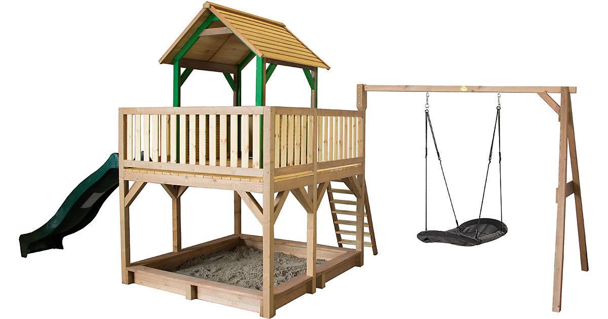 Atka Spielturm mit Roxy Nestschaukel Braun/Grün - Grüne Rutsche braun/grün