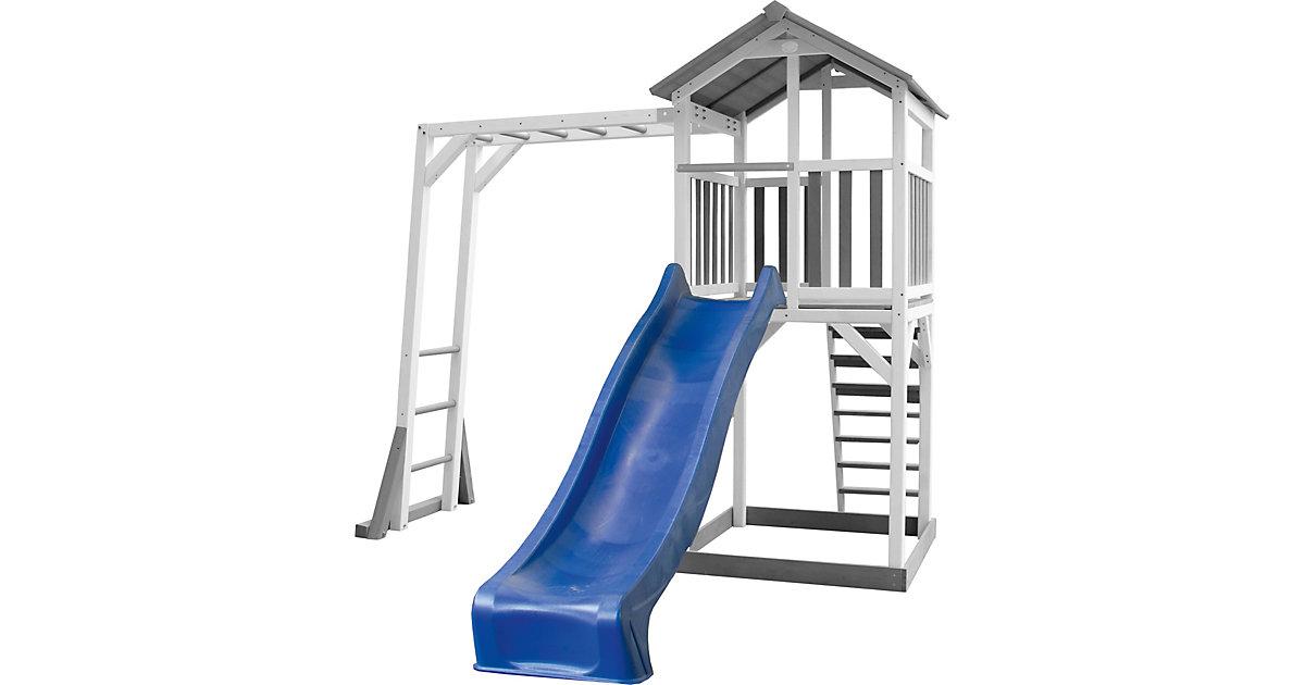 Beach Tower Spielturm mit Klettergerüst - Blaue Rutsche grau/hellblau