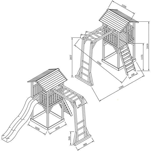 Beach Tower Spielturm mit Klettergerüst - Blaue Rutsche, Axi bWB2B6