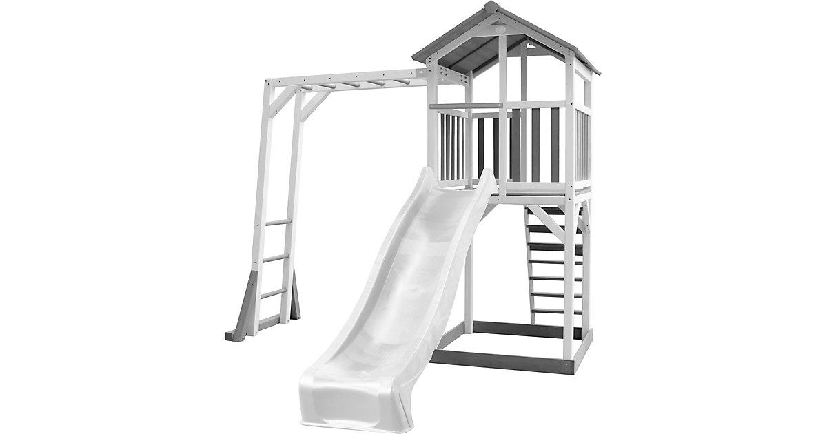 Beach Tower Spielturm mit Klettergerüst - Weiße Rutsche grau/weiß