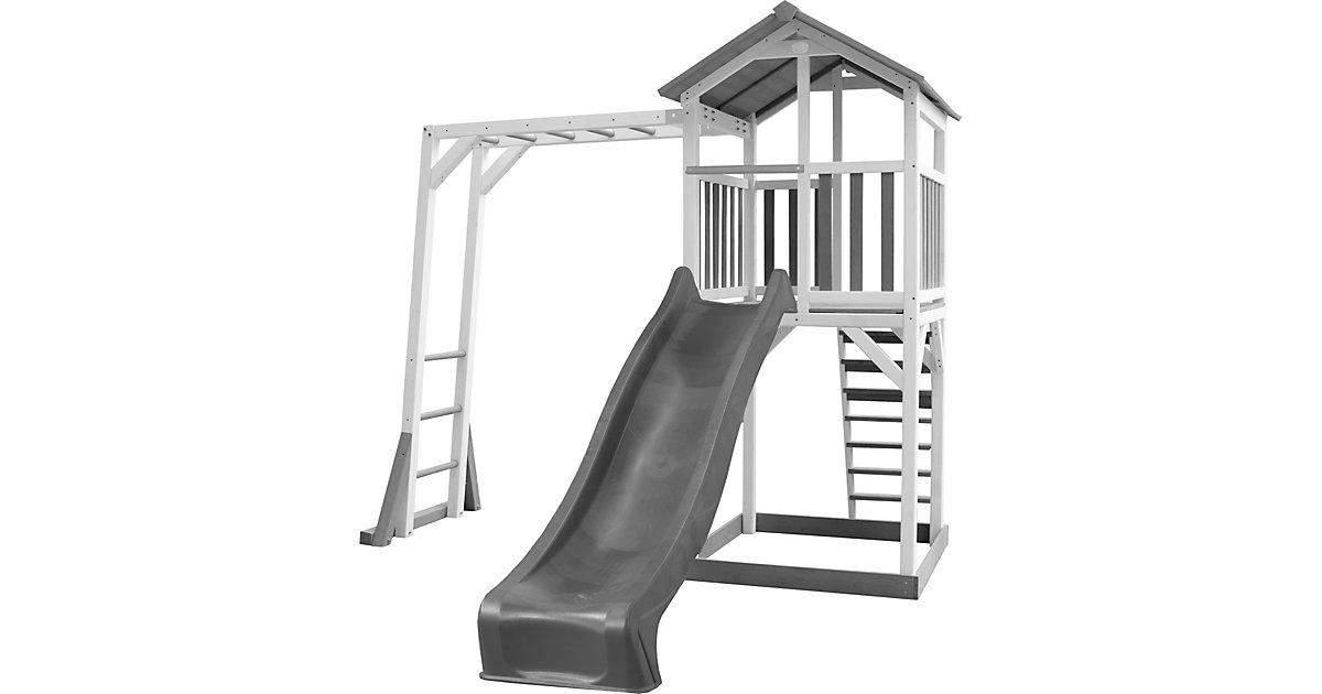 Beach Tower Spielturm mit Klettergerüst - Graue Rutsche weiß/grau