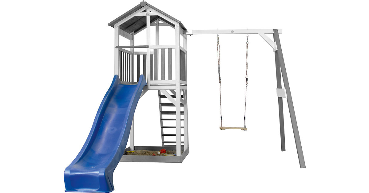 Beach Tower Spielturm mit Einzelschaukel - Blaue Rutsche grau/hellblau