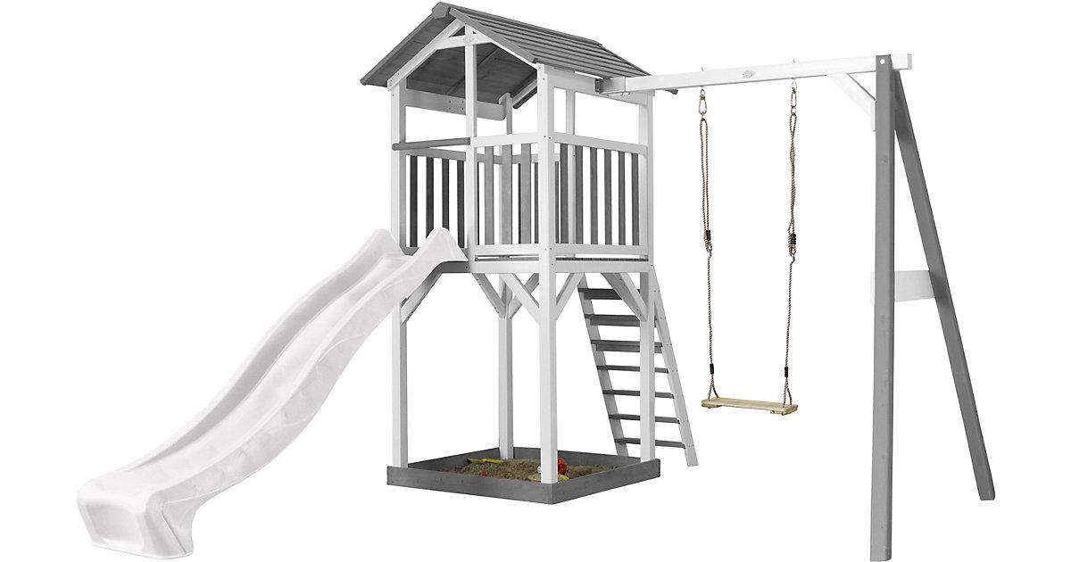 Beach Tower Spielturm mit Einzelschaukel - Weiße Rutsche grau/weiß