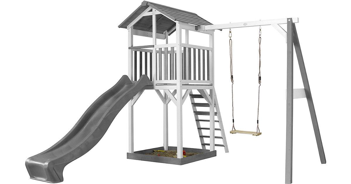 Beach Tower Spielturm mit Einzelschaukel - Graue Rutsche weiß/grau