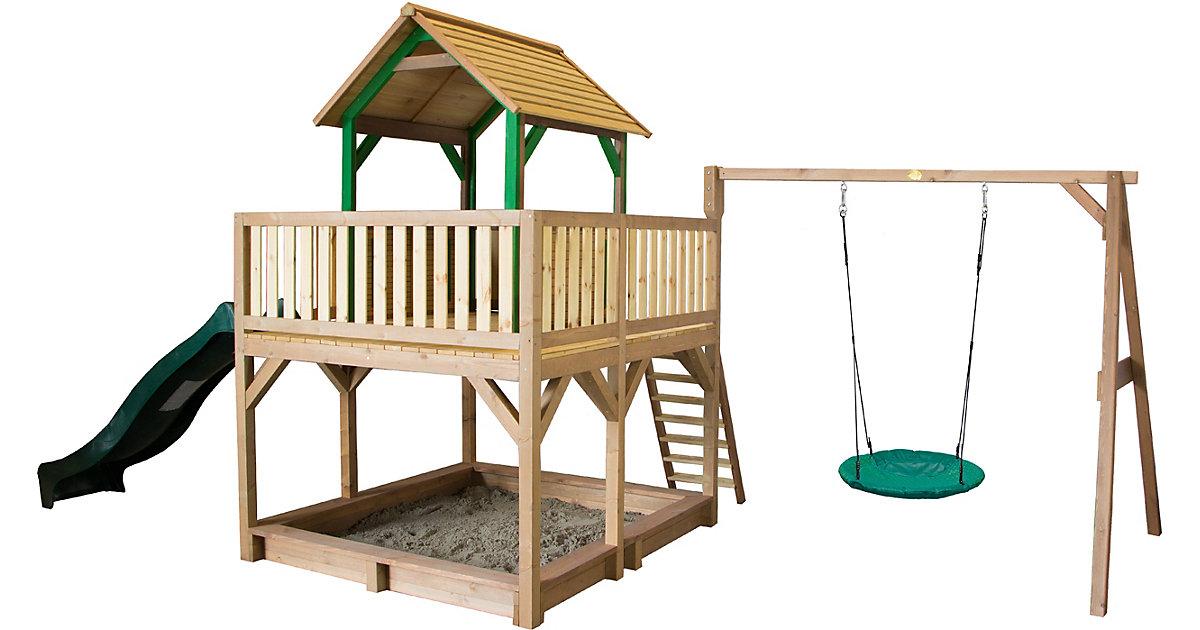 Atka Spielturm mit Summer Nestschaukel Braun/Grün - Grüne Rutsche braun/grün