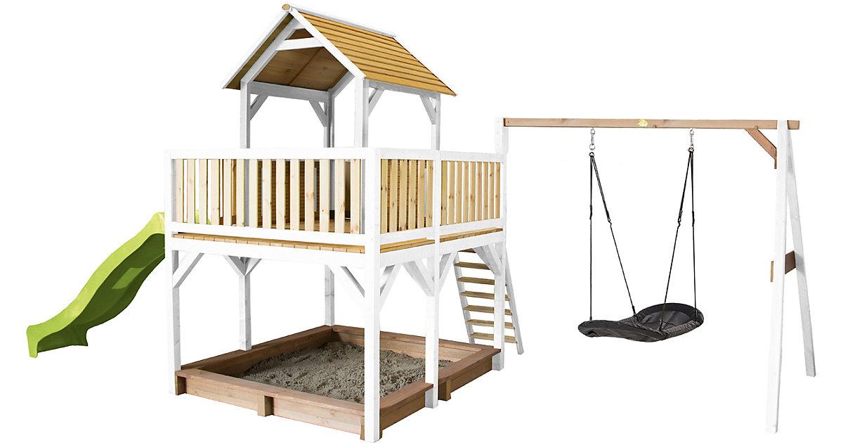 Atka Spielturm mit Roxy Nestschaukel Braun/Weiß - Lindgrüne Rutsche braun/grün