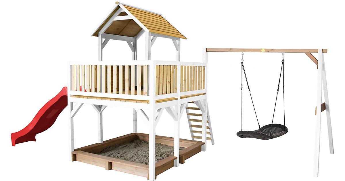 Atka Spielturm mit Roxy Nestschaukel Braun/Weiß - Rote Rutsche braun/rot