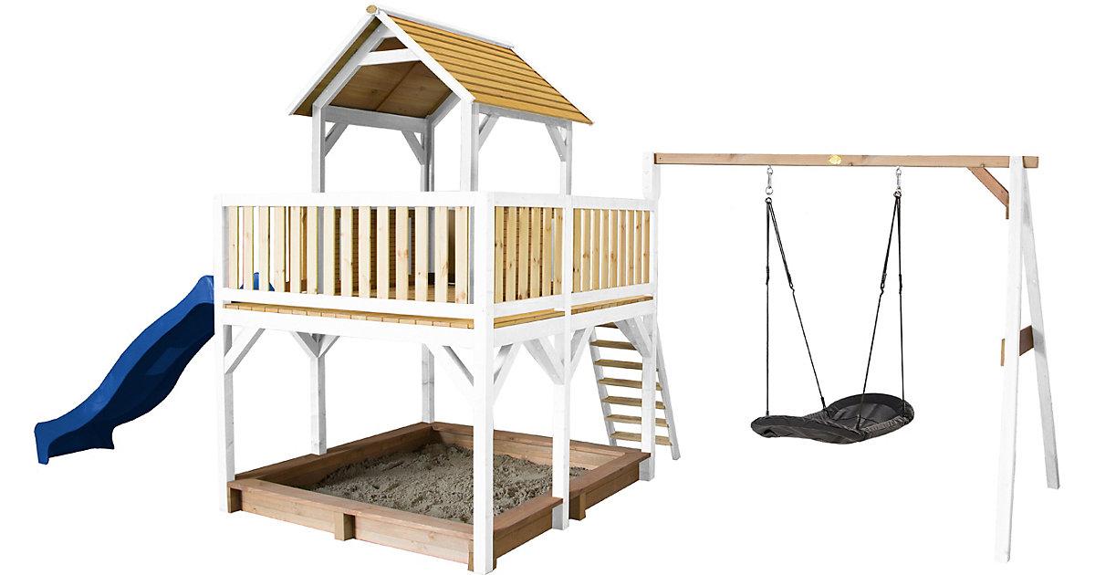 Atka Spielturm mit Roxy Nestschaukel Braun/Weiß - Blaue Rutsche braun/blau